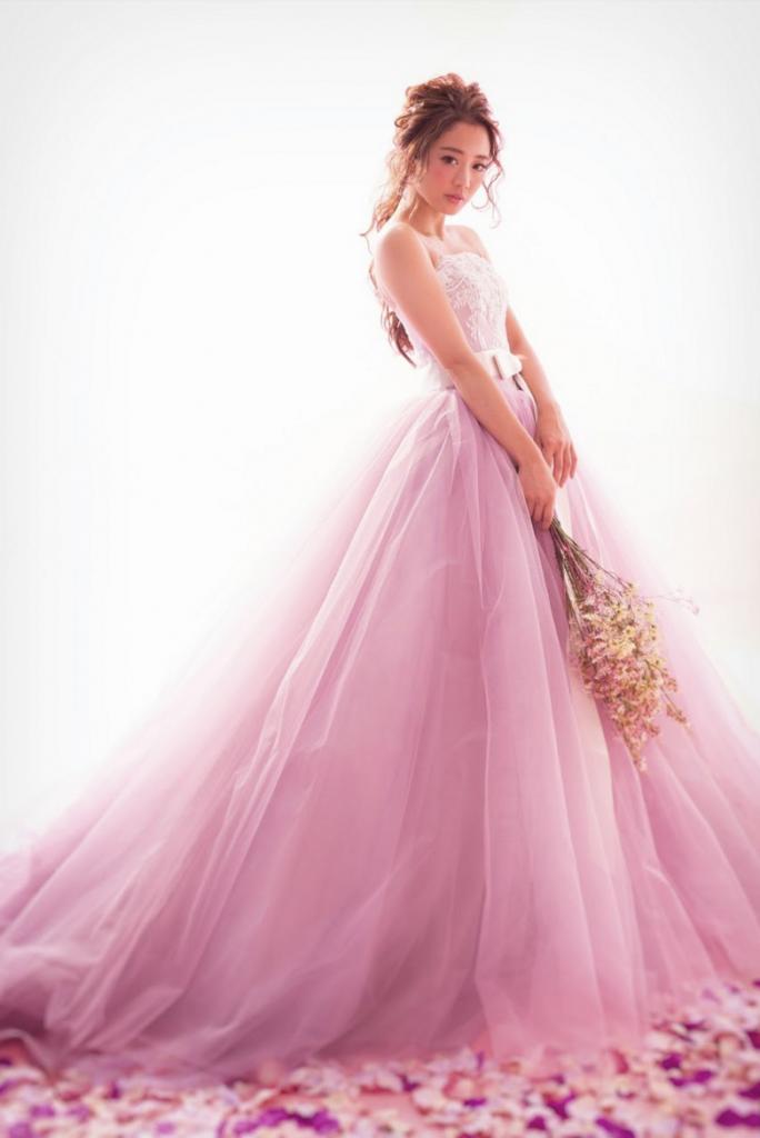 フラワーシャワー ピンク カラードレス